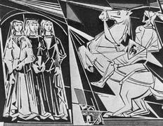 Ritter Heinrich Matter und seine drei Töchter. Sgraffito von Roman Tschabold am Schönauschulhaus.