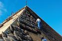 Dacheindeckung auf dem nördlichen Dachstuhl